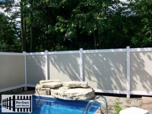 PVC FENCE RIDEAU STYLE COLOR TAN&WHITE (TUF-FENCE)