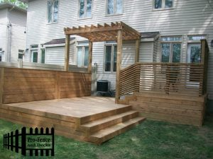 Custom Micro Pro SIENNA Treated Wood Deck with Pergola and Custom Railing